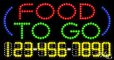 "NEW ""FOOD TO GO"" 32x17 w/YOUR PHONE NUMBER SOLID/ANIMATED LED SIGN 25027"