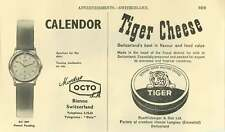 1953 Calendor Octo Bienne Aperture Turning Mechanism Switzerland Tiger Cheese Ad