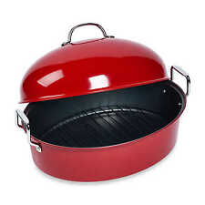 Roaster Pan Turkey Jumbo Chicken High Dome Nonstick Red Steel w/ Roasting Rack