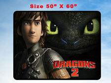 "HOW TO TRAIN YOUR DRAGON 2 FLEECE BLANKET 08 HOME GIFT 50"" X 60"""