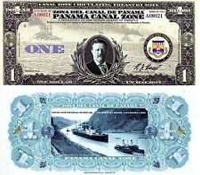 PANAMA CANAL ZONE 1 Balboas FUN Banknote Note Bill NOT REAL Teddy Roosevelt Ship