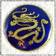 Vintage Enamel Dragon Button - Gold on Dark Blue, 3/4""