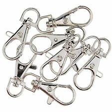 10pcs Silver Plated Metal Swivel Trigger Lobster Clasp Clip Hook Bag Key Ring