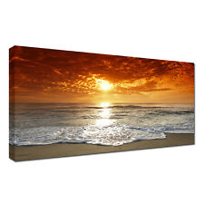 Large beach,sea,sunset sky,water landscape 20x40 inch Canvas Wall  Picture