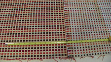 Off White Burgundy Brown Dot Print Chenille Upholstery Fabric Remnant  F1150