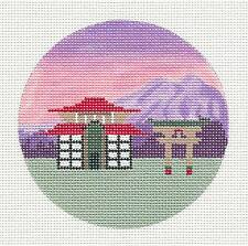 """Painted Pony Japan with Temple handpainted Needlepoint Canvas Ornament 4"""" Rd."""