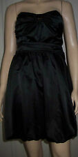 DOROTHY PERKINS Black Satin Sleeveless Belted Puffball  Party Dress Size 10  C34