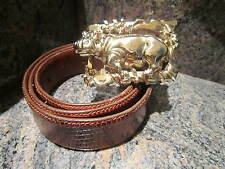 HUGE!!! RARE!!! Kieselstein Art Bronze Happy Hippo Buckle With Brown Lizard Belt