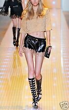 New Versace Lace Hem Leather Shorts with Bell Sleeve Blouse