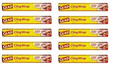 Lot of 10 Glad Cling Clear Plastic Wrap, 100 sq ft each