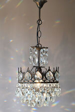 1950's Antique Petite French Old Vintage Crystal Chandelier Lamp Lighting Lustre