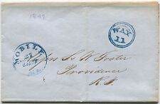 1849 INLAND WATERWAYS COVER: WAY 11 DOUBLE RIM CIRCLE, MOBILE   RI  COTTON k69