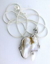 """Creme White Baroque Blister Pearl 18Kt Goldplated Pendant + FREE 21"""" Chain"""