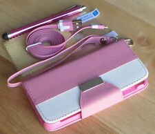 PU Leather Flip Pouch Wallet Stand Case Cover For iPhone 5 5S - Pink