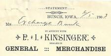1903 Statement to The Exchange Bank in Bloomfield From P.I. Kinsinger Bunch, Ia.
