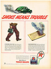 Vintage 1943 Magazine Ad Texaco & Havoline Oil Smoke Means Trouble / Borden's