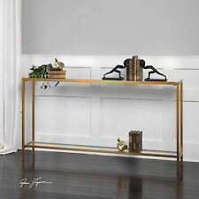 """60"""" ANTIQUED GOLD LEAF METAL SOFA CONSOLE HALL TABLE INSET GLASS TOP & SHELF"""