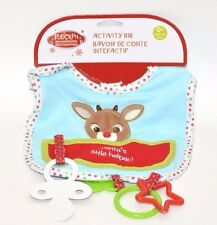 Rudolph Plush BABY'S 1ST CHRISTMAS ACTIVITY BIB, RUDOLPH ~NEW~