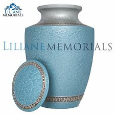 Blue, Flower bands - Brass Funeral Cremation Urn,  Adult, 200 cubic inches