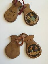 Antique Wooden castanets Hand Carved Inlaid Wood.