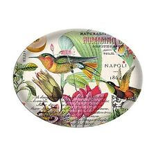 MICHEL DESIGN WORKS NEROLI GLASS OVAL SOAP DISH WITH COLORFUL BIRDS & FLOWERS