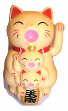 Joblot of 12 Cream Colour Chinese Lucky cat & Kittens new wholesale 12 cm high