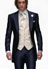 Navy Blue Groom Tuxedos Peak Lapel Best Man Suit Groomsman Men Wedding Suits