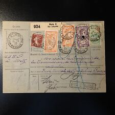 BULLETIN D'EXPEDITION COLIS POSTAUX FISCAL METZ MOSELLE 1927 MERSON 145/206