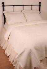 King Quilt Venice Antique White Matelasse Cotton Coverlet