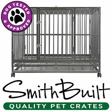 "48"" Dog Crate Kennel - Heavy Duty Silver Pet Cage Playpen w/ Metal Tray Pan"