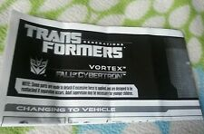 TRANSFORMERS FALL OF CYBERTRON VORTEX INSTRUCTION BOOKLET