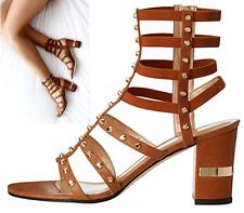 $455 Stuart Weitzman  RIVETCLEO GLADIATOR SANDAL Suede Tall Shoes Slingback 8
