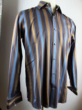 BANANA REPUBLIC MENS BROWN BLUE STRIPED PAISELY FRENCH CUFF DRESS SHIRT L TALL