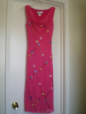 SUE WONG Nocturne Bright Pink Beaded 100% Silk Sleeveless Dress, Size 6