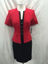 TAHARI SKIRT SUIT/RED/BLACK/SIZE 16/LINED/RETAIL$240/LORD&TAYLOR SUIT