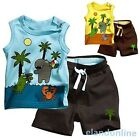 Kids Baby Boy Coconut Tree Sleeveless Tops+Short Pants Set Summer Outfits 0-3Y