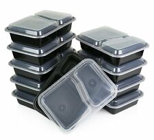 10 Pcs Meal Prep Food Storage Containers 2 Compartment  Plastic Bento Lunch Box