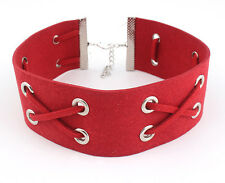 RED LEATHER BIB CHOKER NECKLACE RIBBON KNOTTED LEATHER EVERYDAY FASHION COLLAR