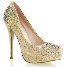 Nude Gold Platform Rhinestone Pageant Prom Bridesmaid Bridal Dance Heels Shoes