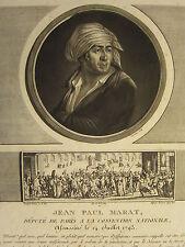 1802 Stampa RIVOLUZIONE FRANCESE ~ Jean Paul Marat vice a Parigi assassinato 1793