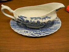 "MYOTT CHINA ""ROYAL MAIL"" BLUE GRAVY BOWL AND TRAY"