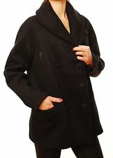 Denham Women's Boston Oversized Black Wool Coat With Pockets Size XXS BCF411