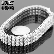 MEN`S STAINLESS STEEL LAB DIAMOND 3 ROWS TENNIS LINK SILVER BRACELET/53g/IB5