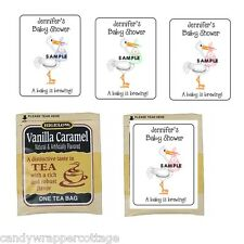 30 Stork Holding Baby Shower Personalized Tea Bag Labels or Coffee Party Favors