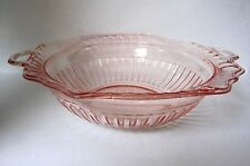 "MAYFAIR/OPEN ROSE by Anchor Hocking Pink Depression Handled 10"" Vegetable Bowl"