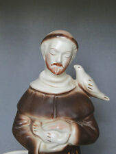 American Bisque Pottery U.S.A. 284-D St Francis of Assisi Planter w Birds