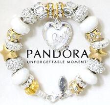 Pandora Bracelet Silver Wife Mom White Gold Heart Murano Beads European Charms