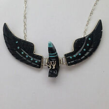 Sterling Silver Navajo Native Inlay Black Jet & Turquoise Medium Eagle Necklace