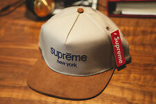 Supreme Brown Classic Logo Suede Visor 5 Panel Hat  F/W 15