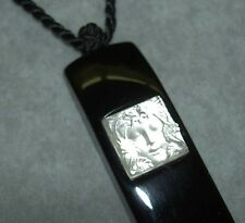 $450 LALIQUE Art Deco Style Masque de Femme Crystal Lacquer Pendant Necklace NIB